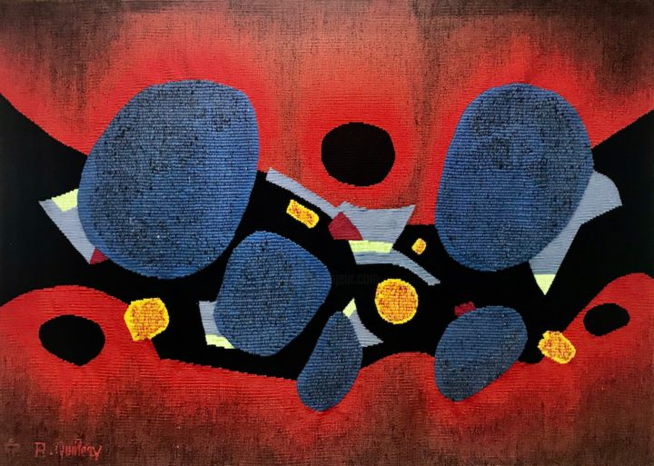 Soiree Intime - © 1970 textile art, tapestry Online Artworks