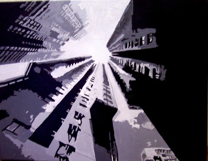 """""""STREET ART"""" - Painting,  19.7x24x0.8 in, ©2014 by RODGER -                                                                                                                                                                          Pop Art, pop-art-615, Architecture"""