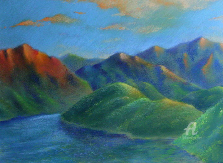 """Drawing titled """"Sunset in the mount…"""" by Roger Thijs, Original Art, Pastel"""