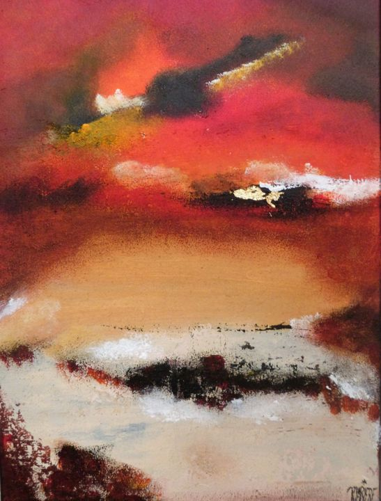 N°5/2018-10.jpg - Painting,  70x50 cm ©2018 by MARIERF -                                                                                    Abstract Art, Other, Abstract Art, Outer Space, Colors, ciel terre, feu couleurs, voyage, blanc, beige, orange, rouge, paysage, abstrait