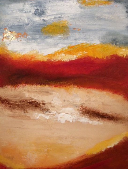 N°8/2018-10.jpg - Painting,  70x50 cm ©2018 by MARIERF -                                                                                    Abstract Art, Other, Abstract Art, Colors, Landscape, abstrait, couleurs, texture mixte, ciment, rouge orange, jaune, feuille or