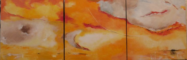 rolland2.jpg - Painting,  80x240x3 cm ©2018 by MARIERF -                                                                        Abstract Art, Other, Abstract Art, Landscape, abstrait, paysage, couleur, orange, ciel terre, bleu gris