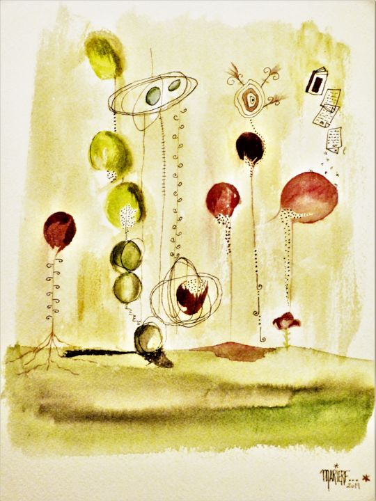 imagination 2 - Painting,  36x26 cm ©2018 by MARIERF -                                                                                    Abstract Art, Paper, Abstract Art, Colors, Light, bulles, couleurs, imaginaire, encre, aquarelle, dessin