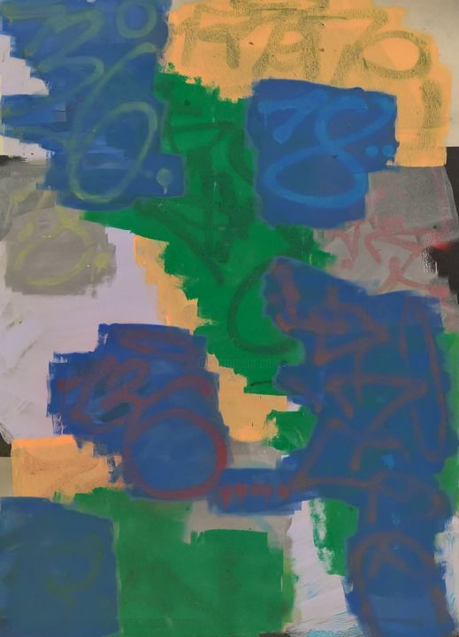 """Painting titled """"Buffer No. 2"""" by Daniel Rohrböck, Original Art, Acrylic Mounted on Other rigid panel"""