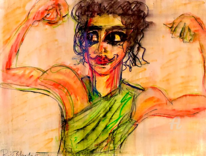 """Drawing titled """"Fashion.. or I am s…"""" by Rok Blenkuš, Original Art, Watercolor Mounted on Stretcher frame"""