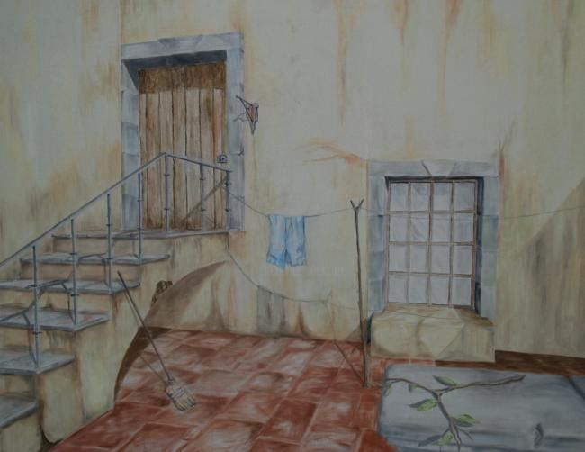 El Patio - Painting,  23.6x29.5 in, ©2007 by Rolando García López -