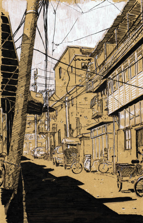 Hutong, ses dernières rues - Drawing,  16x25 cm ©2014 by Romain-Olivier Thieulot -                                                                    Realism, Architecture, Cities, Rural life, chine, pékin, bejing, quartier pauvre, Hutong