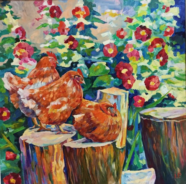 """Painting titled """"Chickens in mallows"""" by Roman Ivanyshyn, Original Art, Oil"""