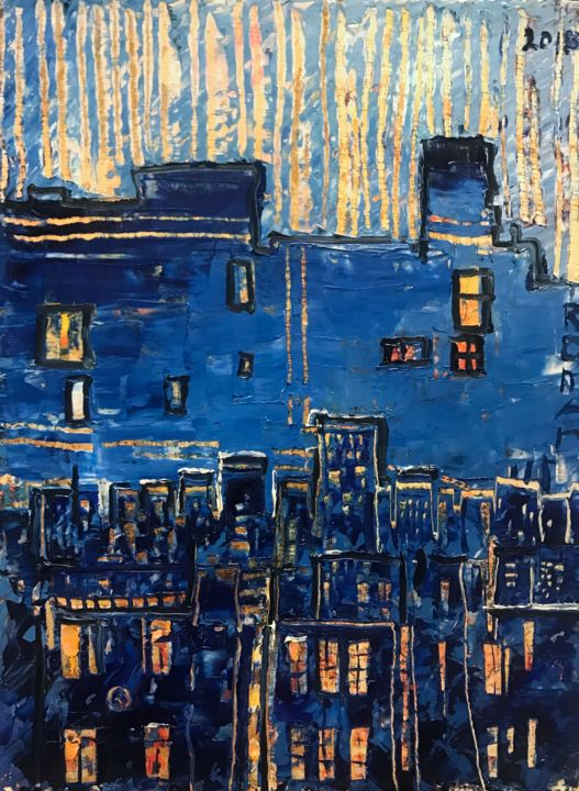 """Painting titled """"Evening in the city"""" by Roman Sleptsuk, Original Art, Oil"""