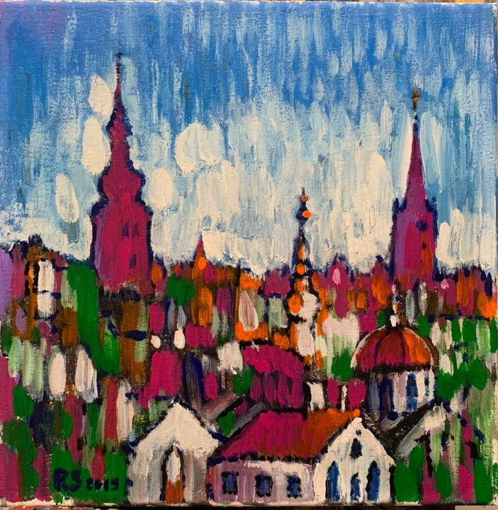 """Painting titled """"old town-2"""" by Roman Sleptsuk, Original Art, Oil"""