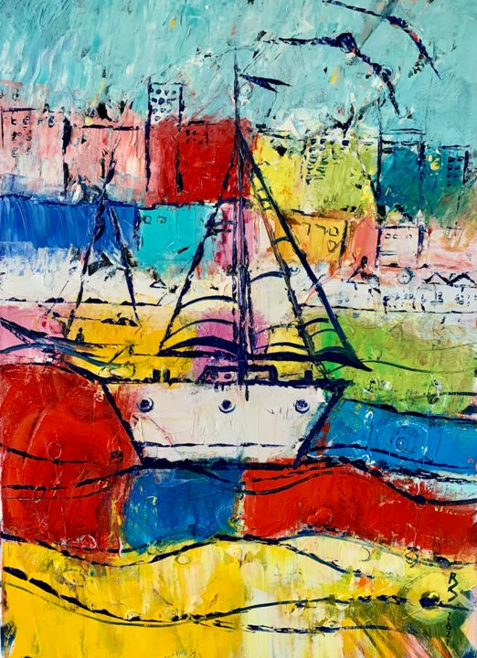 """Painting titled """"A SAILBOAT IN MY DR…"""" by Roman Sleptsuk, Original Art, Oil"""