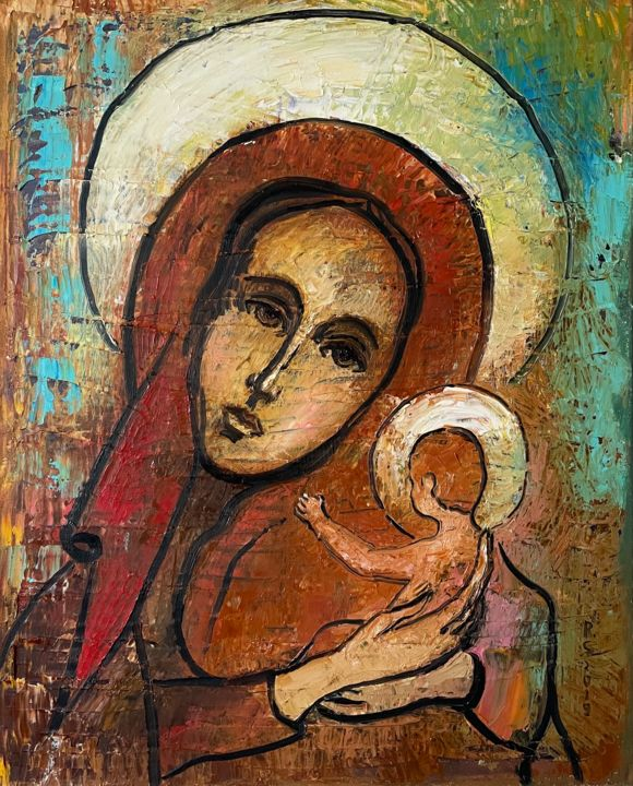 """Painting titled """"Maria with baby Jes…"""" by Roman Sleptsuk, Original Art, Oil"""