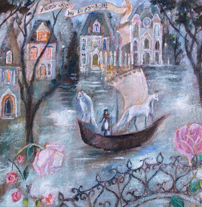 """Painting titled """"Fairbridge by Dream…"""" by Romany Steele, Original Art, Oil Mounted on Stretcher frame"""