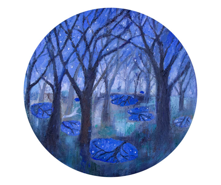 """Painting titled """"Star Puddles"""" by Romany Steele, Original Art, Oil Mounted on Stretcher frame"""