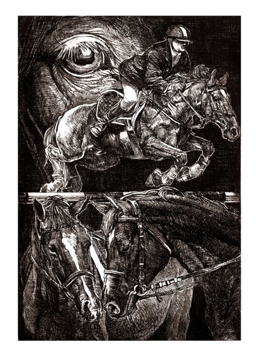 """Drawing titled """"Horse Composition (…"""" by Raileanu Romeo, Original Art,"""