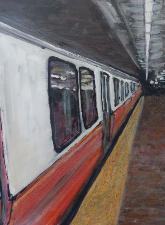Red Line - Painting ©2015 by Romina Diaz-Brarda -                            Abstract Expressionism, Painting of the subway in Boston, Red Line