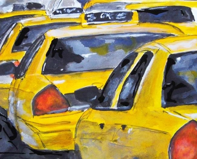 New York Cabs - Painting,  11x14 in ©2012 by Romina Diaz-Brarda -                            Abstract Expressionism, New York Cabs, Taxi