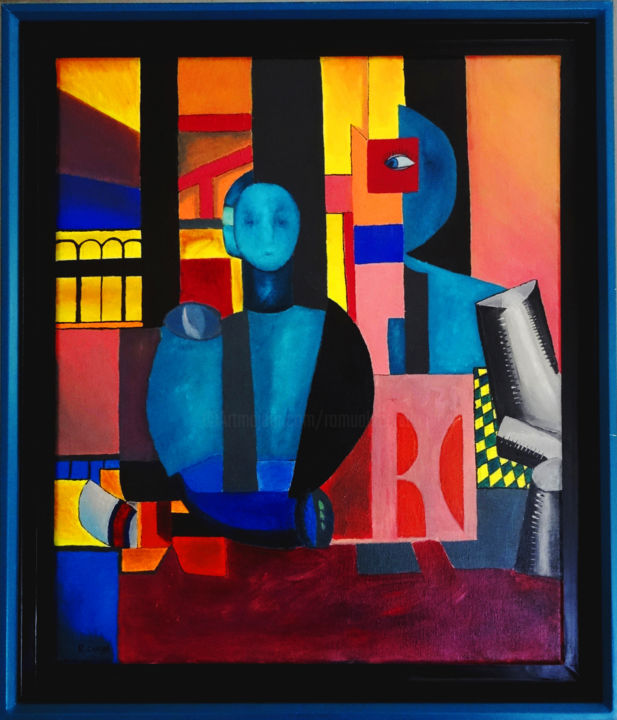 Ojo sobre una mujer sin expresion - Painting,  55x2x46 cm ©2003 by Romuald CANAS CHICO -                            Cubism, Cubisme