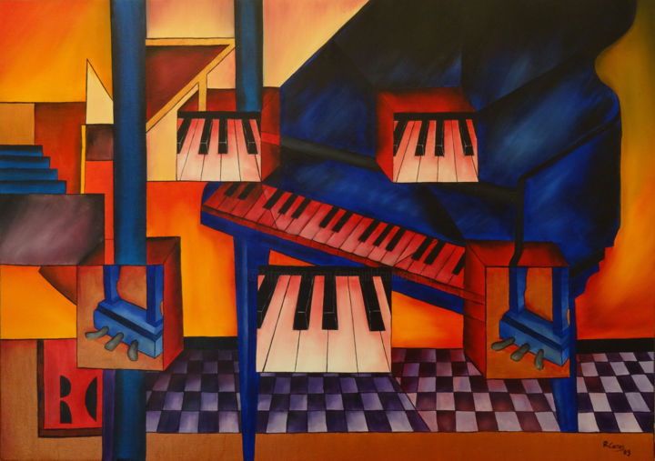 le piano - Painting,  92x65 cm ©2009 by Romuald CANAS CHICO -                            Cubism, Piano cubiste, peinture piano, music art