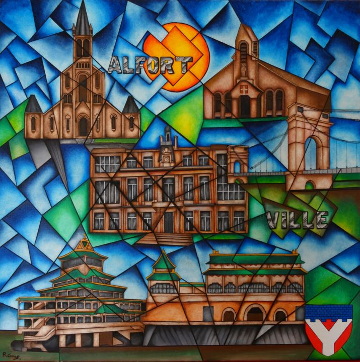 ALFORTVILLE - Painting,  80x2x80 cm ©2015 by Romuald CANAS CHICO -                                                            Cubism, Canvas, Cities, Alfortville, Ville, Val de Marne, CANAS CHICO