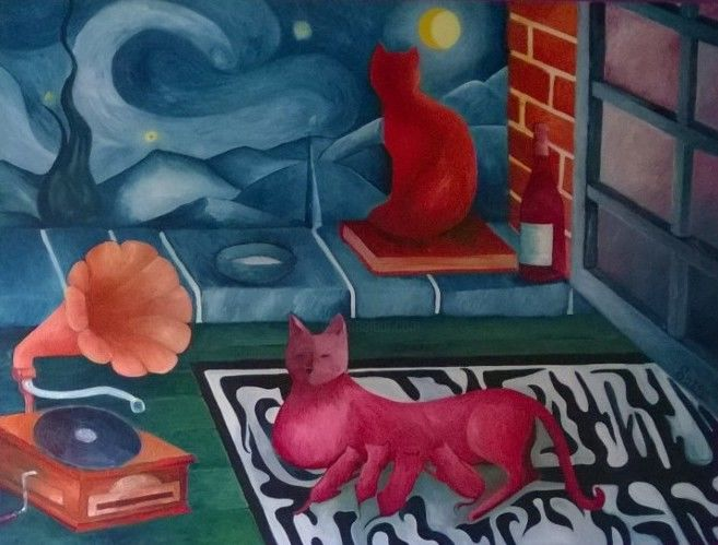 Les chats lune - Painting,  38.2x51.2 in, ©2015 by Romuald Gamelin -                                                                                                                                                                                                                                                                                                                  Figurative, figurative-594, Cats, chat, lune, nuit étoilée