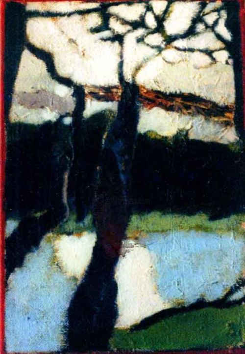 """Painting titled """"Winter Trees"""" by Ronald Newman, Original Art, Oil"""