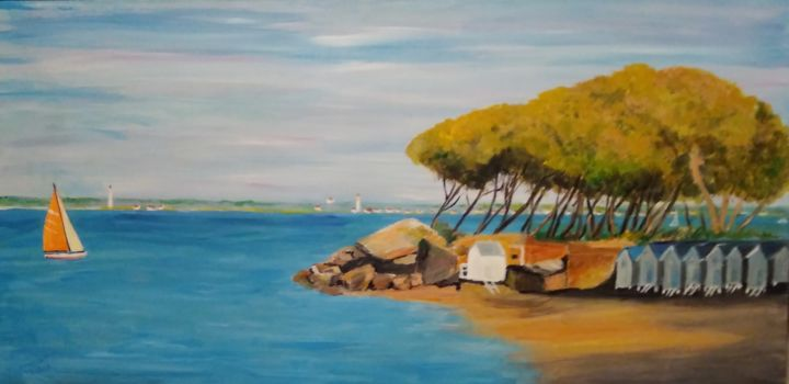 plage du bois de la chaise    ( noirmoutier) - Painting,  50x100x3 cm ©2018 by Dominique RONDEAU -                        Canvas