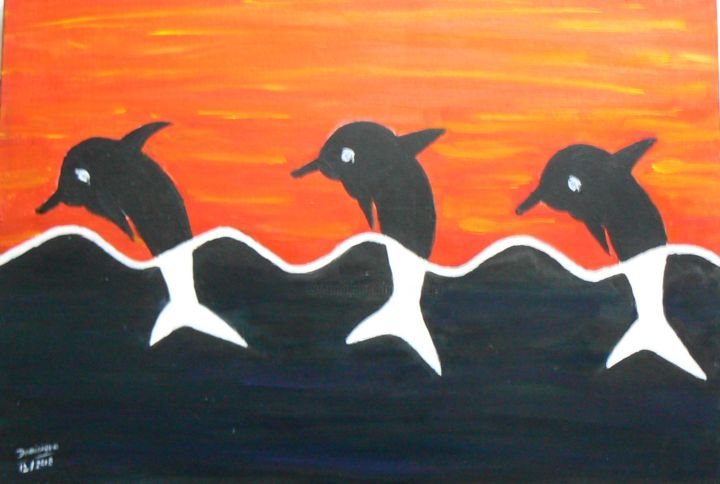 trois dauphins - Painting,  38x55x18 cm ©2018 by Dominique RONDEAU -                                        Canvas, Fish