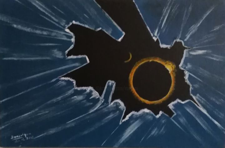 eclipse de glace - Painting,  21x41x1.8 cm ©2018 by Dominique RONDEAU -                                    Abstract Art, Outer Space