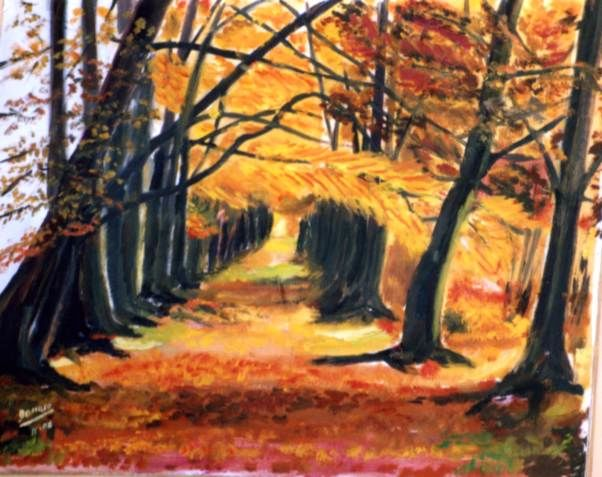 sous bois - Painting,  19.7x25.6 in, ©2007 by Dominique Rondeau -                                                              Tree