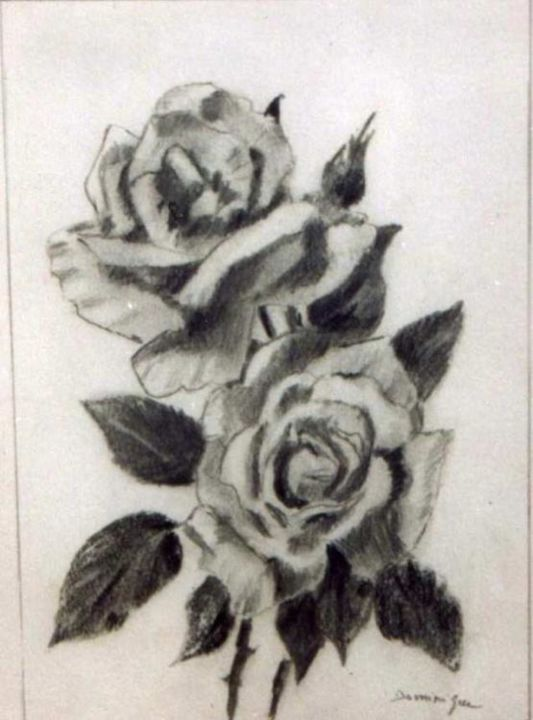 roses - Drawing,  18x13 cm ©2004 by Dominique RONDEAU -            realise au crayon b