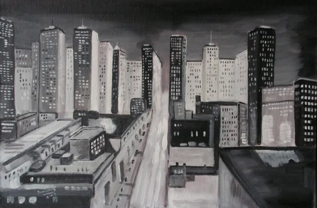 new-york - Painting,  65x50 cm ©2009 by Dominique RONDEAU -            new-york la nuit peinture acrylique