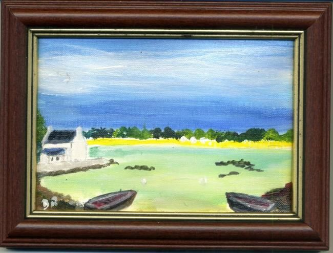 Painting,  10,5 x 15,5 cm ©2011 by Dominique RONDEAU -  Painting, 2 barques sur une plage