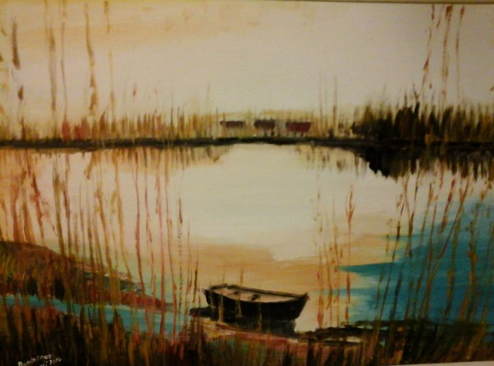 etang-la-nuit - Painting,  19.7x25.6 in, ©2014 by Dominique Rondeau -                                                              Landscape