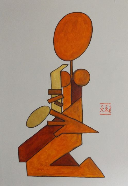"""Painting titled """"Sax"""" by Rone Waugh, Original Art, Acrylic"""