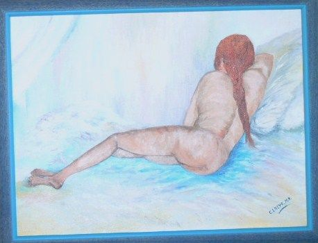 Femme nue - Painting,  30.5x42 cm ©2008 by Marie-Rose Claeys -