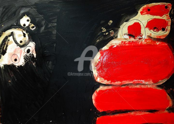 'In red' - Painting,  50x70 cm ©2018 by Rosa Virgili Abelló -