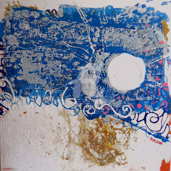 VIATGE AL BLAU. CONTRADICCIONS. - Painting,  19.7x19.7 in, ©2014 by Rosa Virgili Abelló -                                                                                                                                                                                                                                                                                                                                                          Abstract, abstract-570, Tapies, Barcelo, Miro, Valdes, Canogar