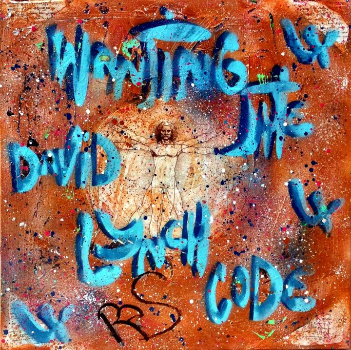 FOR THE DAVID LYNCH CODE - Painting,  70x70x2 cm ©2017 by Rose-Agathe Steiner -                                                                                                                                                                                                                                                            Contemporary painting, Pop Art, Street Art (Urban Art), Other, Canvas, Architecture, Calligraphy, Cinema, Fairytales, Outer Space, Culture, Pop Culture / celebrity, World Culture, Celebrity, Fantasy, Graffiti, History, Men, Cityscape, Street art, Urban art, Spray art, Graffiti, Rose agathe steiner, David Lynch, Leonard de vinci, decoration, code, puzzling, must have, original, urban artist in paris