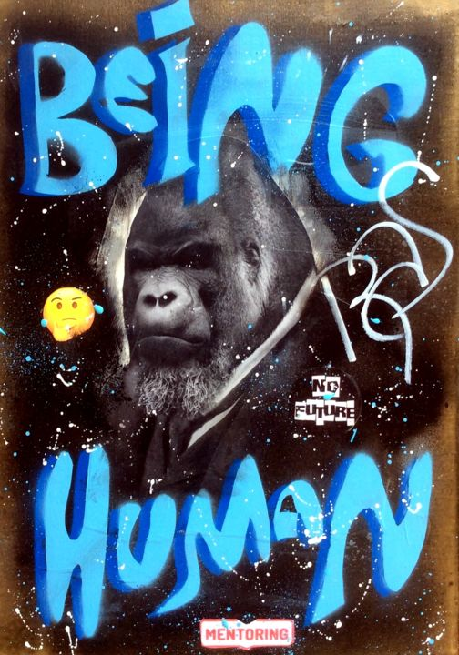 BEING HUMAN GOLD VERSION - © 2018 rose agathe steiner, gorille, gorilla, street art, urban art, art urbain, spray art, art collector, icon, being human, us tv, design Online Artworks