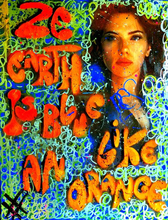 EARTH BLUE LIKE AN ORANGE - © 2018 scarlet johansson, rose agathe steiner, marvel, street art, spray art, urban art, graffiti, tag, paul Eluard, surrealisme, design, calligraphie, artprice, art collector Online Artworks