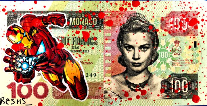WE PROTECT YOU GRACE, by IRON MAN - Painting,  7.5x14.7x0.1 cm ©2018 by Rose-Agathe Steiner -                                                                                                                                                                                                                        Pop Art, Street Art (Urban Art), Paper, Performing Arts, Comics, Fairytales, Culture, Pop Culture / celebrity, World Culture, Celebrity, Cartoon, Fantasy, Women, History, Cityscape, Science-fiction, Rose Agathe Steiner, Grace Kelly, Iron Man, Street Art, Pop Art, Marvel, Comics, Art sur billet de banque, Artworks on banknotes