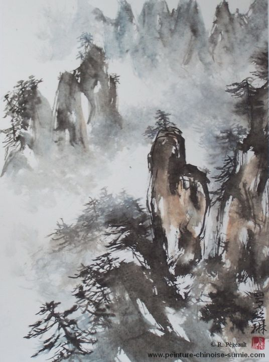 Mystérieuses Huangshan - montagnes jaunes - Painting,  42x33 cm ©2015 by Roselyne PEGEAULT -                            Asia, Huangshan, peinture chinoise huangshan, montagnes jaunes peinture