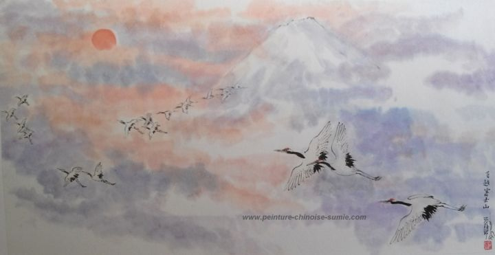 Vol des grues près du Mont Fuji - Painting,  19.7x39.4 in, ©2016 by Roselyne PEGEAULT -                                                                                                                                                                                                                                                  World Culture, Vol grues du Japon, peinture grues du japon, peinture chinoise grues, peinture Mont Fuji