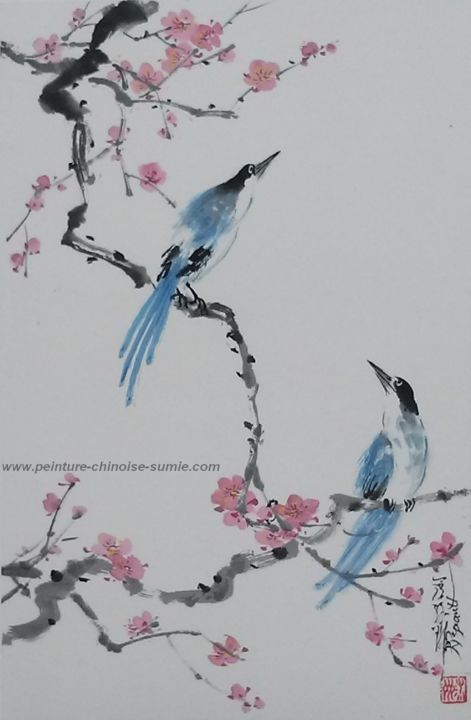 les deux pies bleues - Painting,  19.7x15.8 in, ©2016 by Roselyne PEGEAULT -                                                                                                                                                                                                      Birds, peinture chinoise pies bleues, peinture pies bleues et prunus, couple de pies bleues