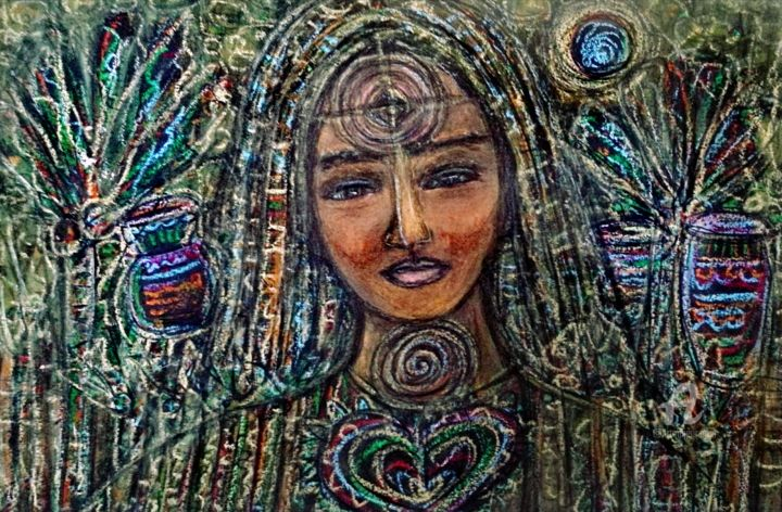 """Painting titled """"Forest gaia, Pacham…"""" by Imuni, Original Art, Pastel"""