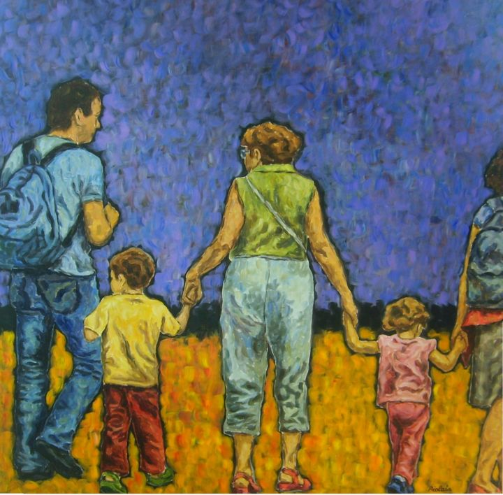 Piolais-je-veux-y-aller-acrylique- 150x150cm - Painting,  150x4x150 cm ©2014 by Rosemary Piolais -                                                            Contemporary painting, Canvas, People, famille, enfants, groupes