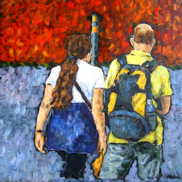 Piolais-le-poteau-de-Stockholm-Acrylique-80x80cm - Painting,  80x4x80 cm ©2014 by Rosemary Piolais -                                                            Contemporary painting, Canvas, People, Couple, amour, romance, voyage, Stockholm