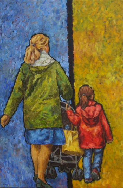Piolais-sur le boulevard-Acrylique-150x100cm - Painting,  150x4x100 cm ©2014 by Rosemary Piolais -                                                            Contemporary painting, Canvas, People, famille, promenade, courses
