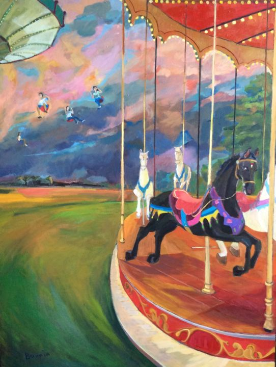 Funfare at Dusk - Mixed Media,  150x110x5 cm ©2018 by Rosemary Bonnin -                                                            Expressionism, Other, Culture, colour, funfare, horses, people, swings